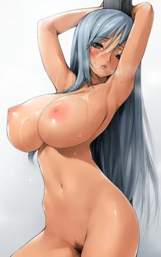 Beautiful girl of silver hair with huge breasts