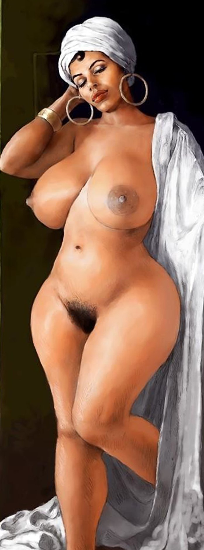 Curvy african woman with hairy pussy