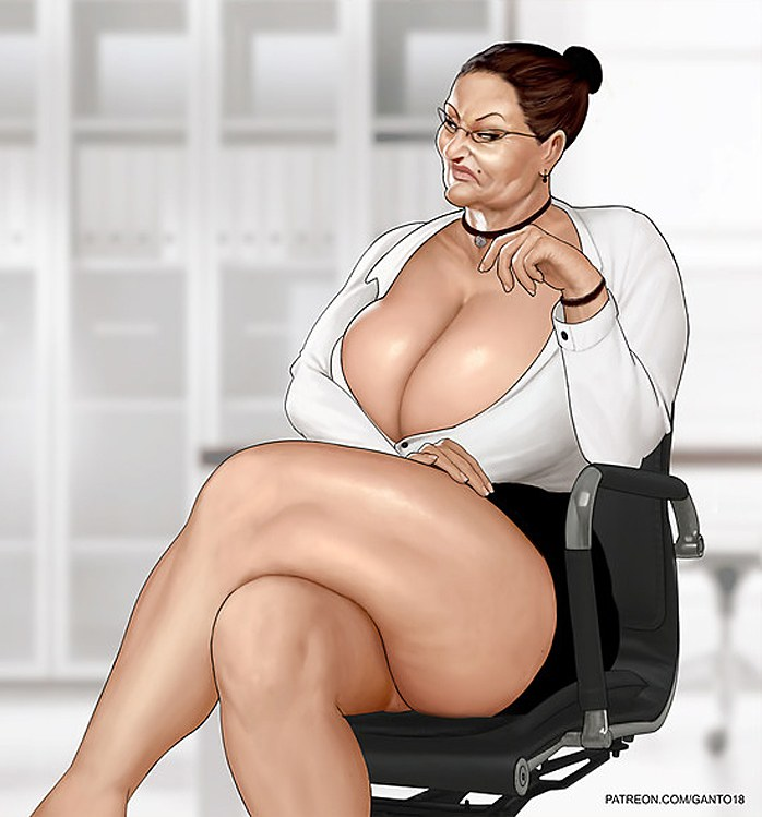 Busty mature woman in a chair