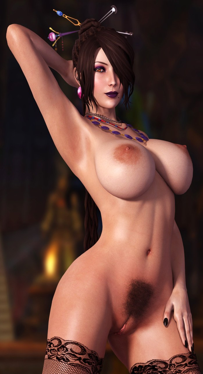 Hot 3D Hentai babe with big tits and hairy pussy