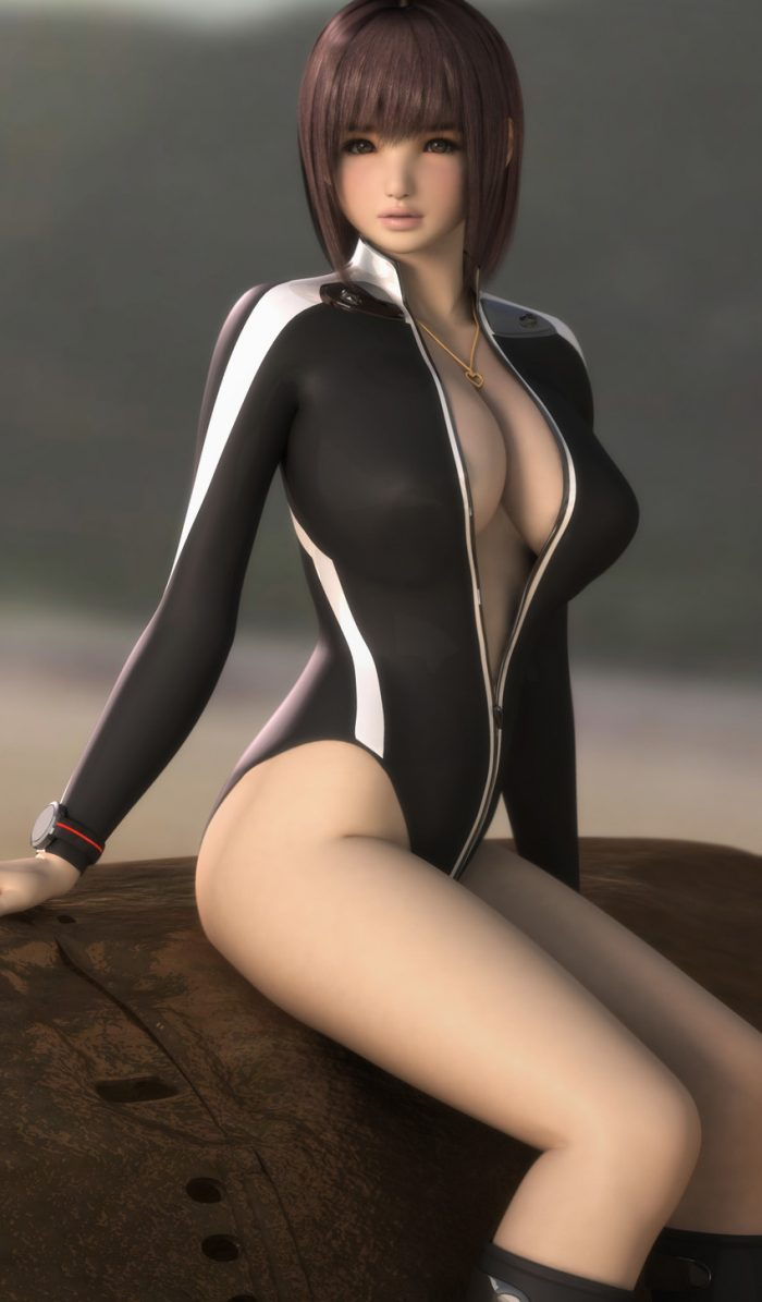 3D girl with big breasts