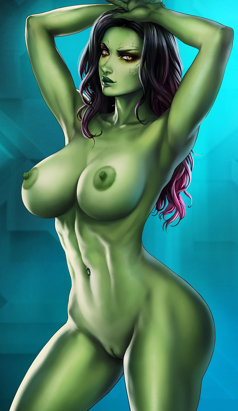 Busty girl with green skin